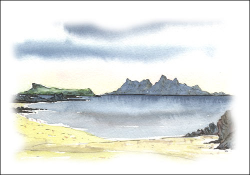 Rum and Eigg from Sand of Morar # 1