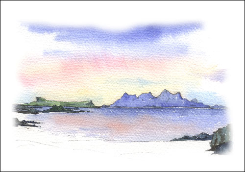 Rum and Eigg from Sand of Morar # 2