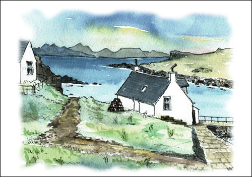 A preprinted selection of 4 popular Hebridean scenes (some cards have a preprinted message on the back - see product page for details)