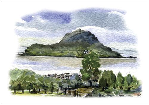 Holy Isle from Claughlands, Lamlash, Arran