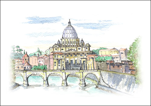 St Peter\'s Basilica and River Tiber, Rome