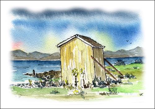 Beach Hut at Dougrie and Kilbrannan Sound, Isle of Arran