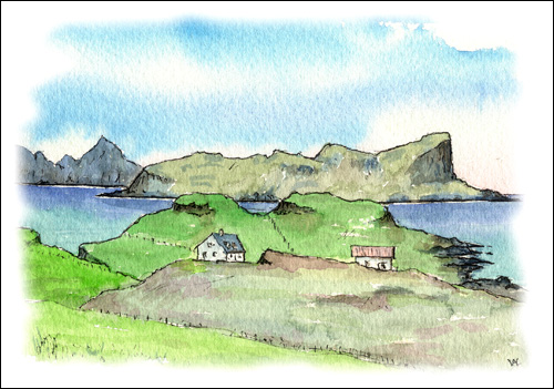 Eigg and Rum from Muck, Inner Hebrides