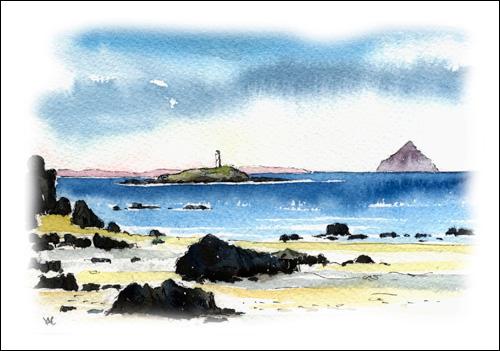 Pladda and Ailsa Craig from Kildonnan Beach, Isle of Arran