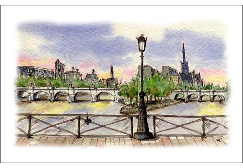 Le Pont Neuf from the Artists Bridge, Paris